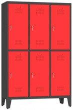 00150410 Szafa ubraniowa na nogach, 3 segmenty, 6 drzwi (wymiary: 1860x1200x480 mm)