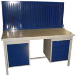 13340636 Stół warsztatowy z jedną szafką uchylną i jedną czteroszufladową + tablica SW (wymiary: 1300x700x850 mm)