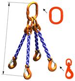 33948313 Zawiesie łańcuchowe czterocięgnowe klasy 10 miproSling WLHW 21,2/15,0 (długość łańcucha: 1m, udźwig: 15-21,2 T, średnica łańcucha: 16 mm, wymiary ogniwa: 260x140 mm)