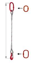 33948352 Zawiesie linowe jednocięgnowe miproSling T 21,00 (długość liny: 1m, udźwig: 21 T, średnica liny: 44 mm, wymiary ogniwa: 275x150 mm)