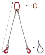 33948398 Zawiesie linowe dwucięgnowe miproSling F 47,0/33,5 (długość liny: 1m, udźwig: 33,5-47 T, średnica liny: 56 mm, wymiary ogniwa: 400x200 mm)