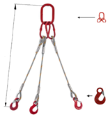 33948409 Zawiesie linowe trzycięgnowe miproSling HE 23,5/16,5 (długość liny: 1m, udźwig: 16,5-23,5 T, średnica liny: 32 mm, wymiary ogniwa: 340x180 mm)