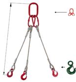 33948416 Zawiesie linowe trzycięgnowe miproSling C-WLL 13,5/9,4 (długość liny: 1m, udźwig: 9,5-13,5 T, średnica liny: 24 mm, wymiary ogniwa: 230x130 mm)