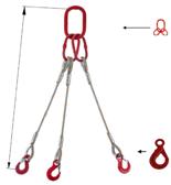 33948435 Zawiesie linowe trzycięgnowe miproSling LE 36,0/26,0 (długość liny: 1m, udźwig: 26-36 T, średnica liny: 40 mm, wymiary ogniwa: 350x190 mm)