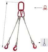 33948456 Zawiesie linowe trzycięgnowe miproSling FK 52,0/37,0 (długość liny: 1m, udźwig: 37-52 T, średnica liny: 48 mm, wymiary ogniwa: 400x200 mm)