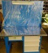 77156937 Stół warsztatowy z nadbudową perforowaną i oświetleniem, 5 szuflad (wymiary: 1500x750x900 mm)