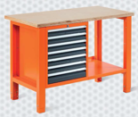 99551610 Stół warsztatowy, 7 szuflad (wymiary: 850-900x1245x620 mm)