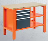 99551611 Stół warsztatowy, 4 szuflady, półka (wymiary: 850-900x1245x620 mm)