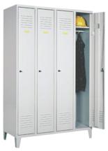 99552162 Szafka ubraniowa 0,8mm na nóżkach, zamek na kłódkę, 4 drzwi (wymiary: 1940x1200x490 mm)