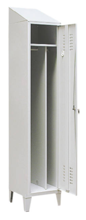 99552178 Szafka ubraniowa 0,8mm na nóżkach ze skośnym daszkiem, zamek na kłódkę, 1 drzwi (wymiary: 2140x300x490 mm)