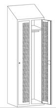 99552217 Szafka ubraniowa perforowana ze skośnym daszkiem, zamek ryglujący drzwi w 3 punktach, 2 drzwi (wymiary: 2000x800x490 mm)
