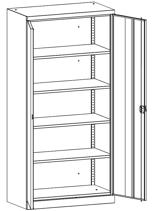 99552517 Szafa warsztatowa, 4 półki, 2 drzwi (wymiary: 1950x950x500 mm)