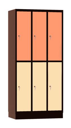 00141890 Szafa skrytkowa, 3 segmenty, 6 skrytek (wymiary: 1950x900x480 mm)