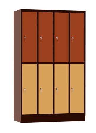 00141895 Szafa skrytkowa, 4 segmenty, 8 skrytek (wymiary: 1950x1190x480 mm)