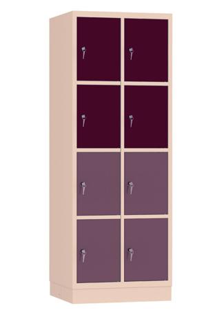 00141907 Szafa skrytkowa, 2 segmenty, 8 skrytek (wymiary: 1950x710x480 mm)