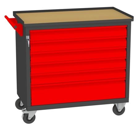 00150655 Wózek narzędziowy, 6 szuflad (wymiary: 860x950x505 mm)