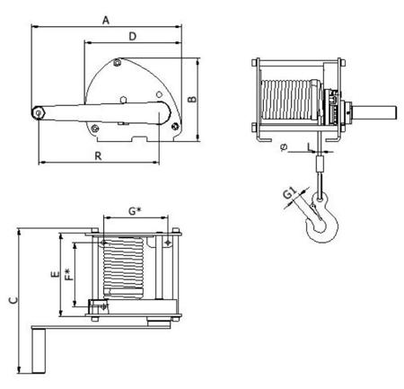 DOSTAWA GRATIS! 2203180 Wciągarka linowa LN/1.0t-S (długość liny: 10m, udźwig: 1 T)