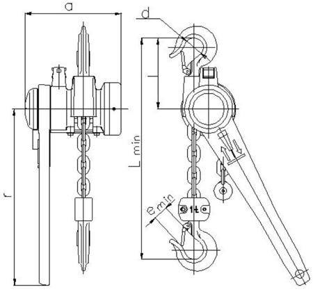 2209126 Wciągnik łańcuchowy dźwigniowy z łańcuchem ogniwowym Z310/1.6t (wysokość podnoszenia: 3,5m, udźwig: 1,6 T)