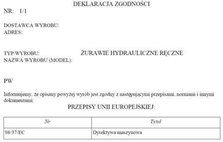 6177833 Żuraw hydrauliczny ręczny (udźwig: od 750 do 1500kg)