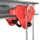 Wózek ręczny jezdny z łańcuszkiem i napędem (udźwig: 1,0 T, szerokość belki jezdnej: 50-203 mm, wysokość łańcucha manewrowego: 3m) 03076122
