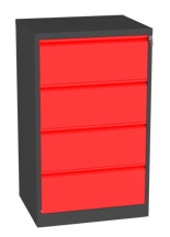 00150463 Szafa kartotekowa na teczki A4 poziome, 2 rzędy, 4 szuflady (wymiary: 1280x770x630 mm)