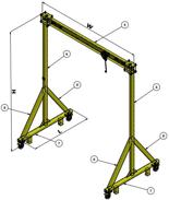 15560139 Suwnica bramowa z wózkiem i wciągarką (udźwig: 1500 kg, wysokość: 4000mm, szerokość: 4000mm, wysokość podnoszenia: 3148mm)