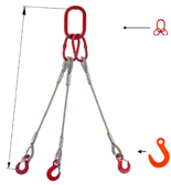 33948424 Zawiesie linowe trzycięgnowe miproSling FW 23,5/16,5 (długość liny: 1m, udźwig: 16,5-23,5 T, średnica liny: 32 mm, wymiary ogniwa: 340x180 mm)