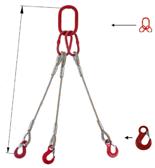 33954974 Zawiesie linowe trzycięgnowe miproSling HE 13,5/9,4 (długość liny: 1m, udźwig: 9,4-13,5 T, średnica liny: 24 mm, wymiary ogniwa: 230x130 mm)