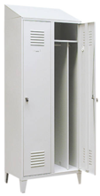 99552182 Szafka ubraniowa 0,8mm na nóżkach ze skośnym daszkiem, zamek na kłódkę, 2 drzwi (wymiary: 2140x600x490 mm)