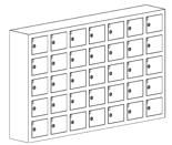 99552417 Szafka na komórki, 35 skrytkowa (wymiary: 780x1290x200 mm)