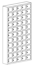 99552419 Szafka na komórki, 55 skrytkowa (wymiary: 1680x930x200 mm)