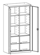 99552489 Szafa warsztatowa, 6 półek, 4 szuflady (wymiary: 1950x1200x500 mm)