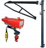 DOSTAWA GRATIS! 08172283 Wciągarka elektryczna linowa budowlana + Wysoki maszt + Ramie robocze + lina 30m + sterowanie ręczne 1,5m (udźwig: 200 kg)