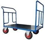 DOSTAWA GRATIS! 13340613 Wózek platformowy ręczny dwuburtowy (koła: pneumatyczne 225 mm, nośność: 250 kg, wymiary: 1000x700 mm)