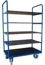 DOSTAWA GRATIS! 13367478 Wózek platformowy magazynowy pięciopółkowy, wysoki 1500mm (koła: pełna guma 125 mm, nośność: 250 kg, wymiary: 1000x600 mm)
