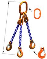 DOSTAWA GRATIS! 33948222 Zawiesie łańcuchowe trzycięgnowe klasy 10 miproSling HCS 14,0/10,0 (długość łańcucha: 1m, udźwig: 10-14 T, średnica łańcucha: 13 mm, wymiary ogniwa: 200x110 mm)