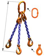 DOSTAWA GRATIS! 33948226 Zawiesie łańcuchowe trzycięgnowe klasy 10 miproSling LCS 14,0/10,0 (długość łańcucha: 1m, udźwig: 10-14 T, średnica łańcucha: 13 mm, wymiary ogniwa: 200x110 mm)