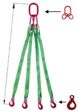 DOSTAWA GRATIS! 33948520 Zawiesie pasowe czterocięgnowe dwuwarstwowe miproSling LE 8400 (długość pasa: 1m, udźwig: 8400 kg, wymiary taśmy: 120x7 mm, wymiary ogniwa: 230x130 mm)