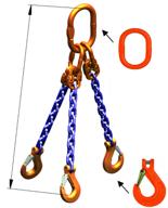 DOSTAWA GRATIS! 33971862 Zawiesie łańcuchowe trzycięgnowe klasy 10 miproSling KHSW 5,3/3,75 (długość łańcucha: 1m, udźwig: 3,75-5,3 T, średnica łańcucha: 8 mm, wymiary ogniwa: 160x90 mm)