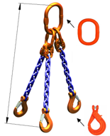 DOSTAWA GRATIS! 33971872 Zawiesie łańcuchowe trzycięgnowe klasy 10 miproSling KLHW 2,0/1,5 (długość łańcucha: 1m, udźwig: 1,5-2 T, średnica łańcucha: 5 mm, wymiary ogniwa: 110x60 mm)