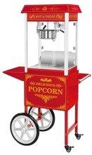 DOSTAWA GRATIS! 45670649 Maszyna do popcornu z wózkiem, czerwona Royal Catering (moc: 1600W, wydajność: 5 - 6 kg/h)