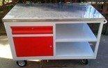 DOSTAWA GRATIS! 77157340 Wózek montażowy, szafka z półka i szufladą (wymiary: 1250x620x900 mm)