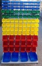 DOSTAWA GRATIS! 77157419 Regał z pojemnikami plastikowymi, 103 pojemniki (wymiary: 2000x1000x400 mm)