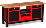 DOSTAWA GRATIS! 87853463 Stół warsztatowy z szafką, 4 szuflady, 2 drzwi - blat obity blachą (wymiary: 1960x890x600 mm)