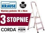 DOSTAWA GRATIS! 99674641 Aluminiowa drabina domowa Krause Corda 3 stopnie (wysokość robocza: 2,55m)