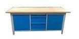 Stół warsztatowy z nadbudową, 3 szuflady, 2 szafki (wymiary: 2000x750x900 mm) 77156923