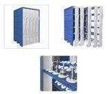 Szafa z wysuwanymi przedziałami do opraw narzędziowych CNC - konstrukcja + półka z gniazdami ISO 50 do szafy z wysuwanymi przedziałami (wymiary szafy: 1100x1150x1850 mm) 00877119