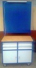 Wózek narzędziowy z tablicą i oświetleniem, 4 szuflady, 2 szafki (wymiary: 900x500x900/1800 mm) 77157350