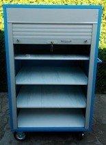 Wózek serwisowy z żaluzją, 4 półki regulowane (wymiary: 1600x1000x600 mm) 77157373