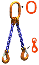 33948263 Zawiesie łańcuchowe dwucięgnowe klasy 10 miproSling WLHW 14,0/10,0 (długość łańcucha: 1m, udźwig: 10-14 T, średnica łańcucha: 16 mm, wymiary ogniwa: 200x110 mm)